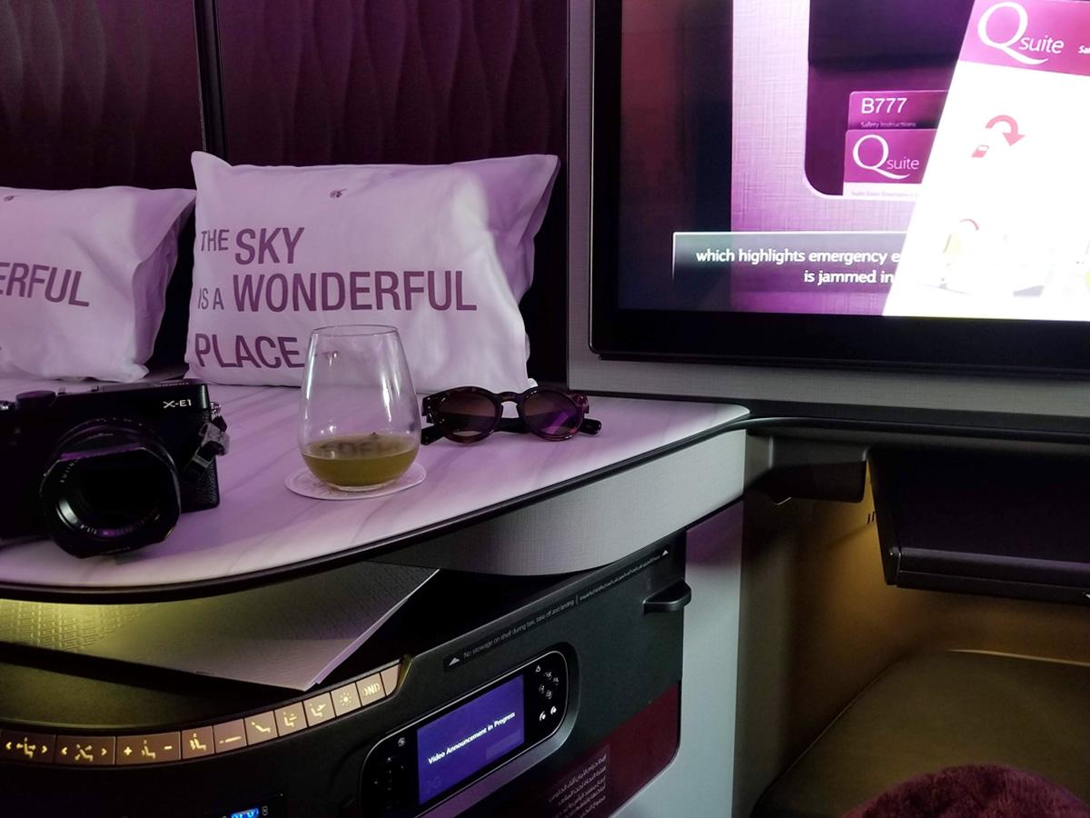 カタール航空Qsuiteのシート(カタール航空 ビジネスクラス Qsuite ドーハ-ロンドン便)